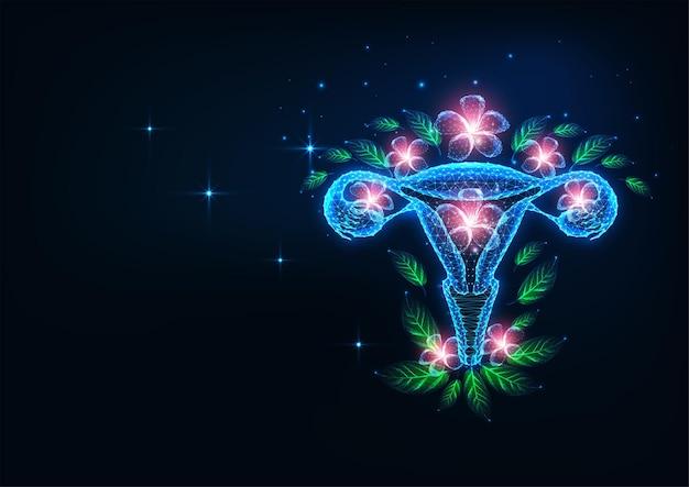 Futuristisch vruchtbaarheids- en reproductief systeemgezondheidszorgconcept met gloeiende baarmoeder en bloemen