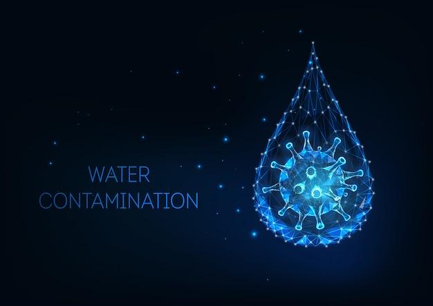 Futuristisch waterverontreinigingsconcept met gloeiende lage veelhoekige waterdruppel en viruscel.