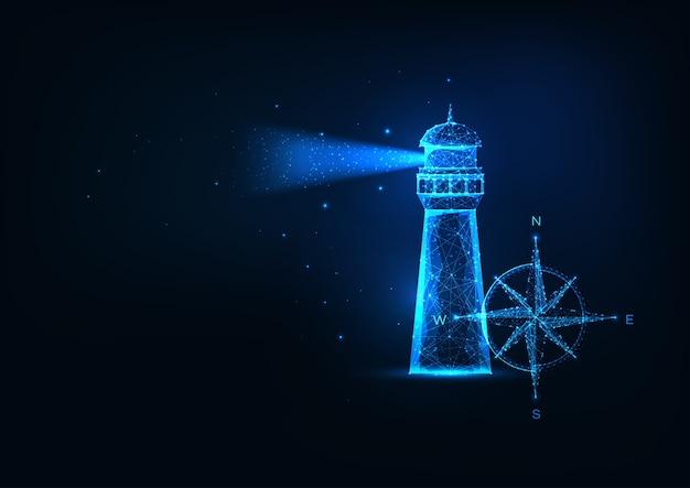 Futuristisch zee-avontuurconcept met gloeiend laag veelhoekig verlichtingshuis en kompasroos geïsoleerd op donkerblauwe achtergrond. modern gaas van draadframe.