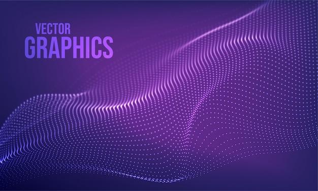 Futuristische 3d-golf abstracte achtergrond. golvende lijnpunten. technologie concept. big data.
