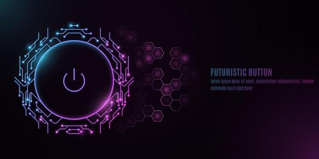 Futuristische aan / uit-knop met printplaat van de computer op een achtergrond met een patroon van zeshoeken.