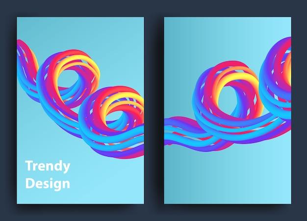 Futuristische abstracte achtergrond. 3d illustratie van een vloeiende vorm. sjabloon voor abstracte bestemmingspagina. kleur vloeibare vorm beweging.