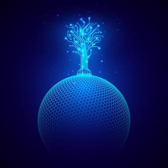 Futuristische abstracte achtergrond. circuit boom op bol. sciencefiction-concept. wetenschap en technologie ontwerpelement. vector illustratie