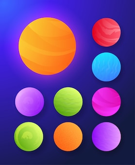 Futuristische abstracte reeks van zon en planeteninzamelings vectorillustratie