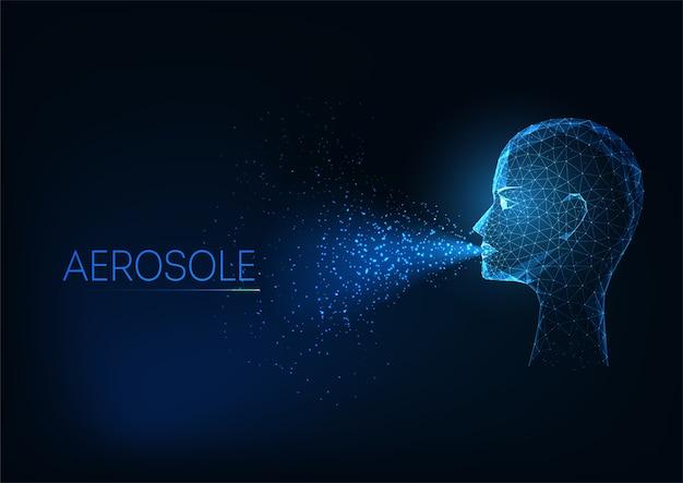 Futuristische aerosoolvorming tijdens breething concept met gloeiend laag veelhoekig menselijk hoofd en luchtinfectie op donkerblauwe achtergrond. modern draadframe mesh.