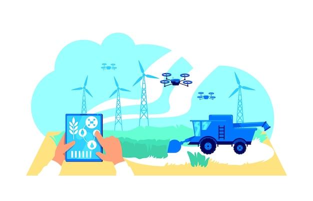 Futuristische agribusiness platte concept illustratie