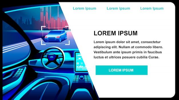 Futuristische auto-innovatie platte vectorillustratie Premium Vector