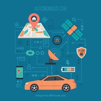 Futuristische autonome auto met plat ontwerp