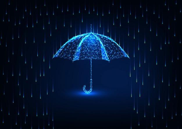 Futuristische bescherming met glow low poly-paraplu en regendouche op donkerblauw.