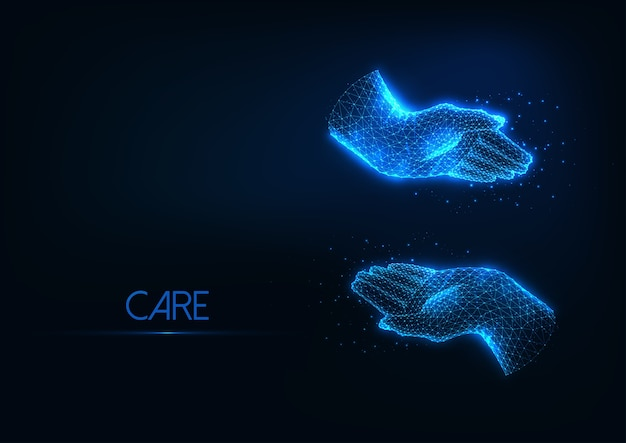 Futuristische bescherming, zorgzaam concept met gloeiende lage veelhoekige omhelzende menselijke handen geïsoleerd op donkerblauwe achtergrond. modern draadframe mesh-ontwerp