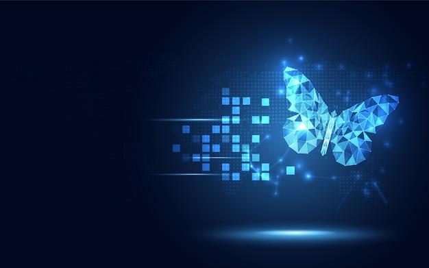 Futuristische blauwe lowpoly achtergrond van de vlinder de abstracte technologie
