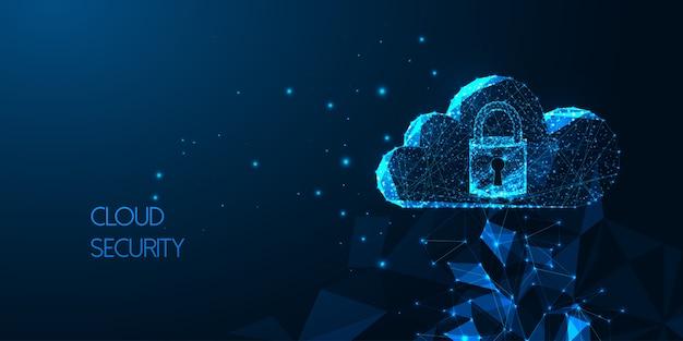 Futuristische cloudbeveiliging met gloeiende laag veelhoekige cloudtechnologie