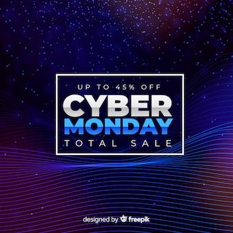 Futuristische cyber maandag verkoop achtergrond met neon effecten