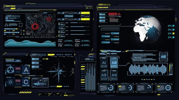 Futuristische dashboard hud-interface toekomstig frame hologram ui infographic interactieve wereldbol aarde