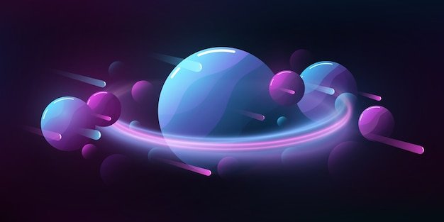 Futuristische deep space cartoon achtergrond. vliegende meteorieten en planeten.