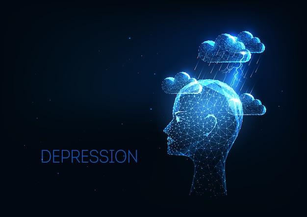 Futuristische depressie, psychische stoornissen concept met gloeiende lage veelhoekige mens had en onweerswolken op donkerblauwe achtergrond. modern draadframe mesh