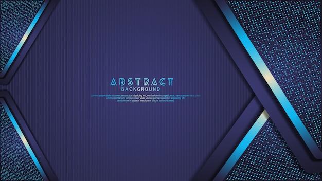 Futuristische en dynamische donkerblauwe overlappende lagenachtergrond met glitterseffect. realistisch verticaal lijnenpatroon op geweven donkere achtergrond