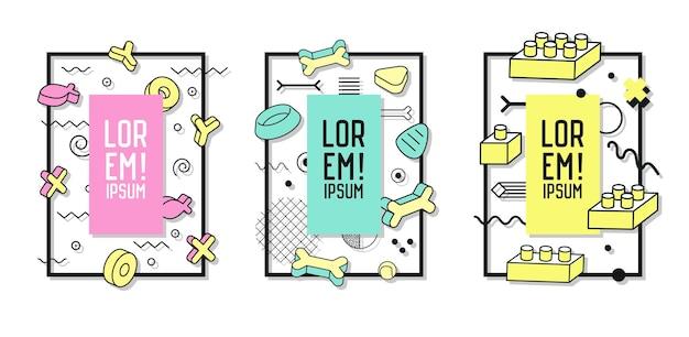 Futuristische frames met abstracte lijn art geometrische elementen. moderne afbeeldingen voor flyers, posters, spandoeken, posters, brochures met plaats voor tekst. vector illustratie