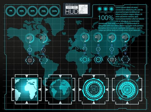 Futuristische gebruikersinterface. hud achtergrondkosmische ruimte. infographic elementen.
