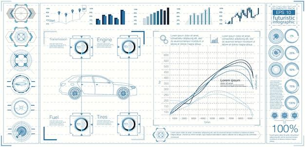 Futuristische gebruikersinterface. hud ui. abstracte virtuele grafische aanraakgebruikersinterface. auto's infographic. wetenschap abstract. illustratie.