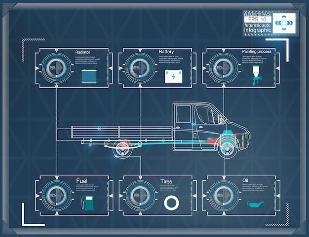 Futuristische gebruikersinterface. hud ui. abstracte virtuele grafische aanraakgebruikersinterface. auto's infographic.
