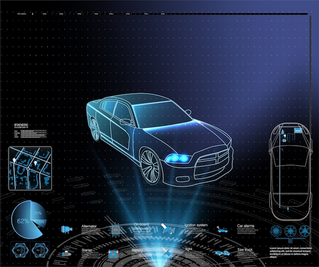 Futuristische gebruikersinterface. hud ui. abstracte virtuele grafische aanraakgebruikersinterface.
