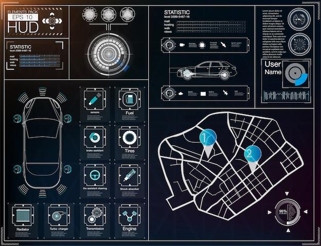 Futuristische gebruikersinterface. hud ui. abstracte virtuele grafische aanrakingsgebruikersinterface. auto's inf
