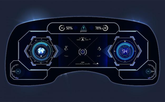 Futuristische gebruikersinterface. hud ui. abstracte virtuele grafische aanrakingsgebruikersinterface. infographic van de auto. wetenschappelijke samenvatting. illustratie.