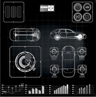 Futuristische gebruikersinterface. infographics van vrachtvervoer en vervoer.