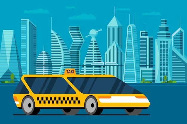 Futuristische gele auto op toekomstige stadsweg. autonome taxiservice in een slimme stad met wolkenkrabbers en torens. platte vectorillustratie