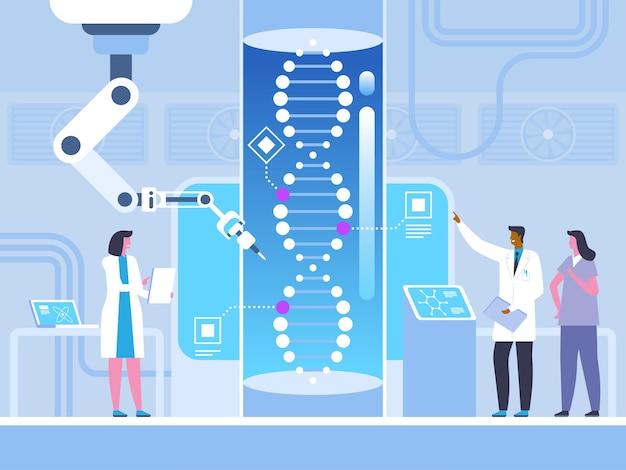 Futuristische geneeskunde, biotechnologie, genetische manipulatie onderzoek naar het menselijk genoom, laboratoriumexperiment