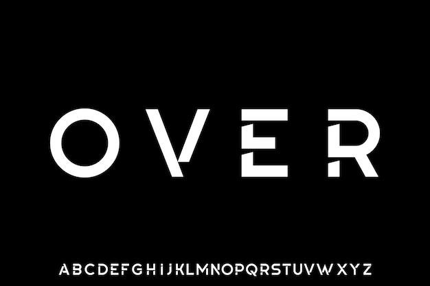 Futuristische geometrische lettertype weergave lettertype