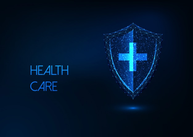 Futuristische gezondheidszorg, ziektebescherming, immuniteitsconcept met gloeiend laag polyschild en kruis