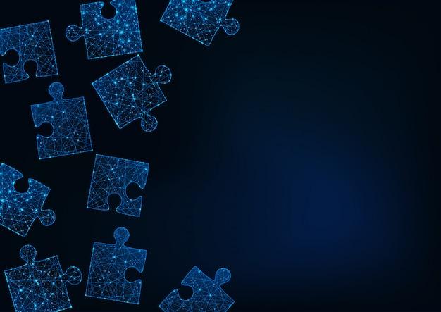 Futuristische gloed laag poly puzzel stukjes abstracte achtergrond met ruimte voor tekst op donkerblauw.
