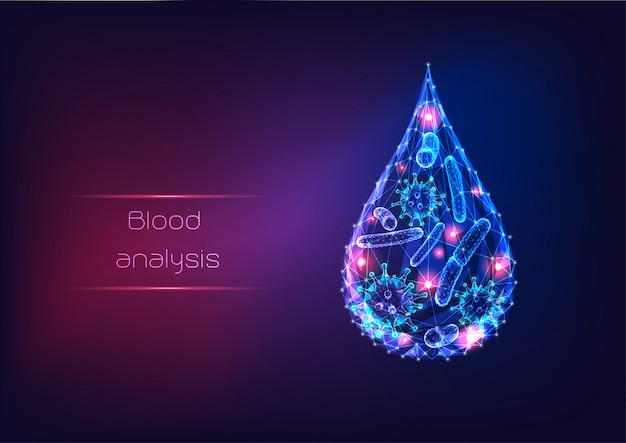 Futuristische gloeiende lage veelhoekige microbenvirussen en bacteriën in een druppel bloed of water.