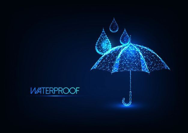 Futuristische gloeiende lage veelhoekige paraplu en waterdruppels. waterdichting.