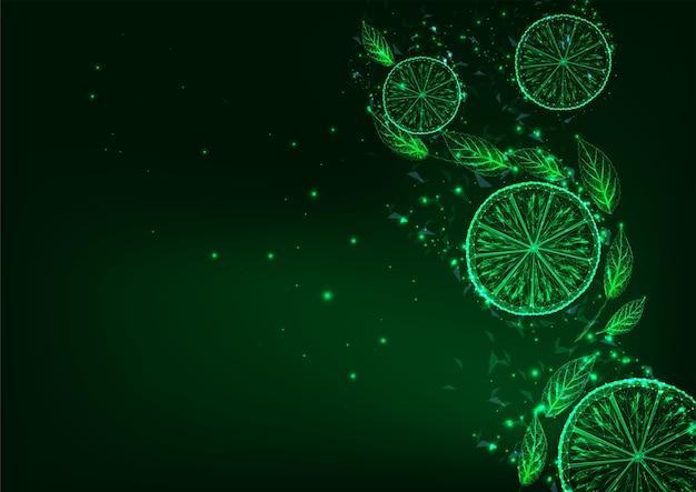 Futuristische gloeiende lage veelhoekige plakjes citroen of limoen en groene bladeren op donkergroene achtergrond. verfrissend drankje concept. modern draadframe mesh.