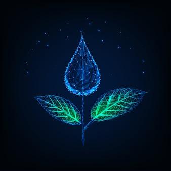 Futuristische gloeiende lage veelhoekige plant gemaakt van waterdruppel