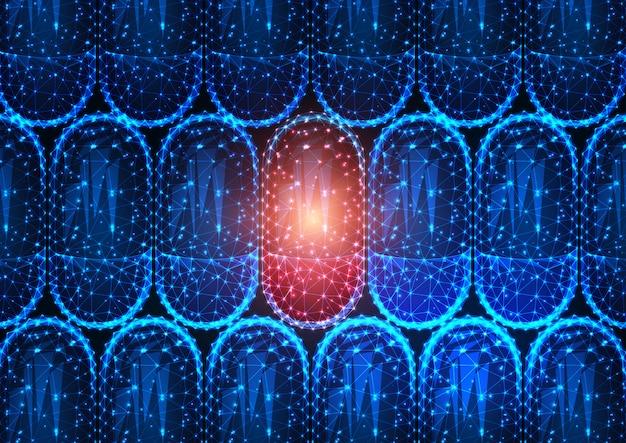 Futuristische gloeiende lage veelhoekige rode pil van de geneeskundecapsule tussen massa blauwe drugs.