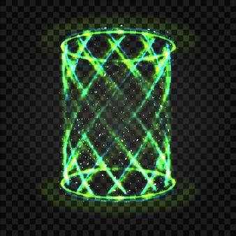 Futuristische groene swirl neonlicht teleporteren