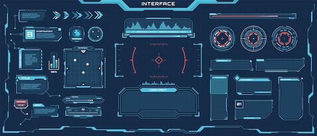 Futuristische hud ui cyberpunk ruimtepaneel frames toelichting titels voortgangsbalken game interface set
