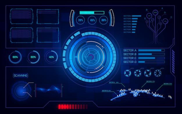 Futuristische hud ui virtuele systeem computing-technologie innovatie concept achtergrond