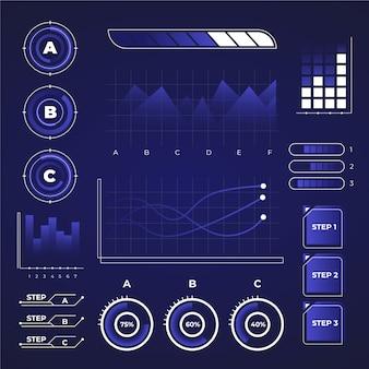 Futuristische infographic collectie