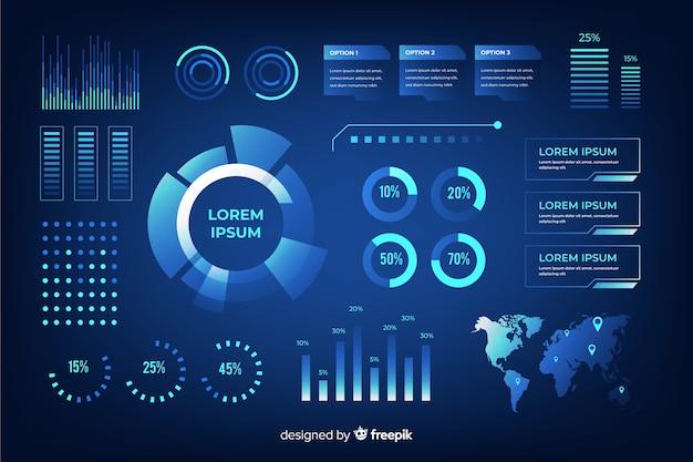 Futuristische infographic elementenverzameling