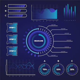 Futuristische infographic verzameling sjabloon