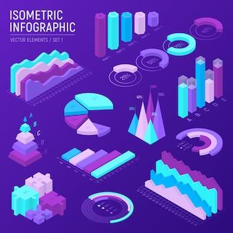 Futuristische isometrische infographic elementen instellen