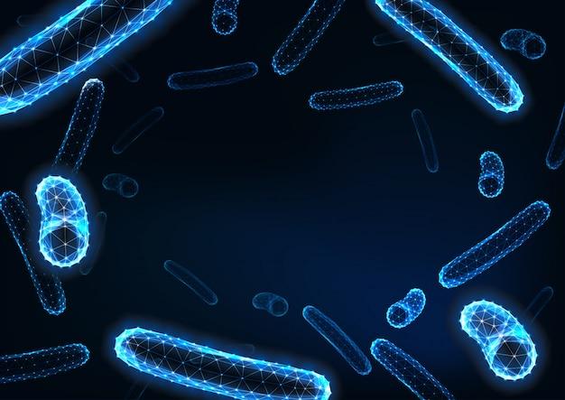 Futuristische lage veelhoekige bacteriënbacillen met ruimte voor tekst op donkerblauw.