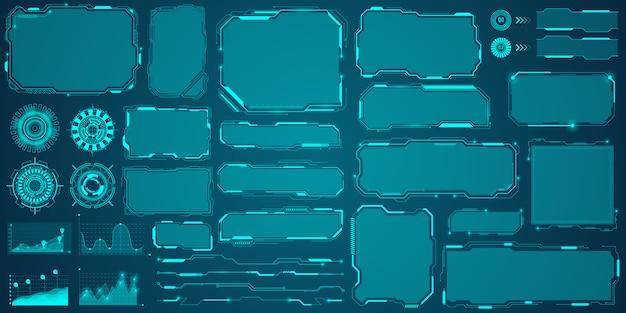 Futuristische markeertitels in hud-stijl, informatiebalken en moderne indelingssjablonen voor digitale informatieframes.