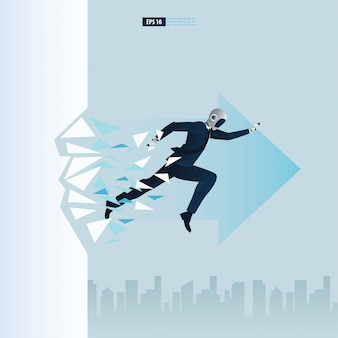 Futuristische mensen uit het bedrijfsleven met kunstmatige intelligentie technologieconcept. robot die het muurglas breekt. doorbraak illustratie