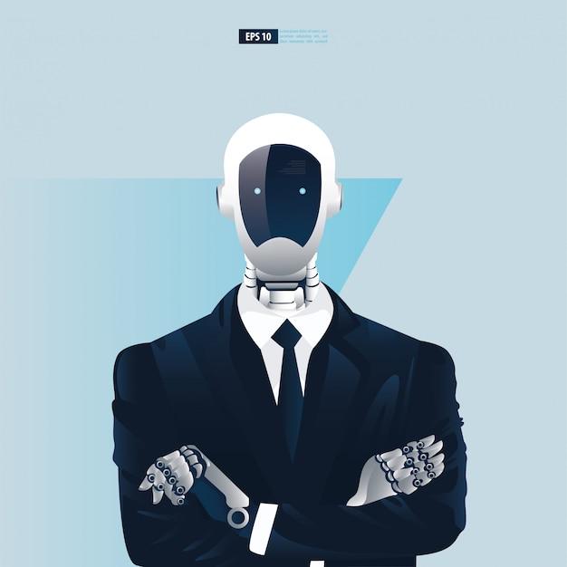 Futuristische mensen uit het bedrijfsleven met kunstmatige intelligentie technologieconcept. robot kantoormedewerkers illustratie